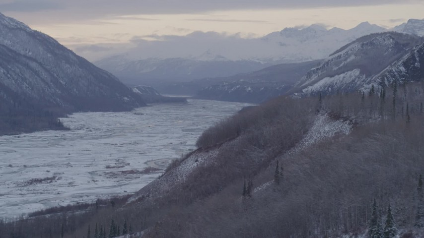4K stock footage aerial video the snow covered Talkeetna Mountains and Matanuska River Valley, Alaska Aerial Stock Footage AK0001_1091 | Axiom Images