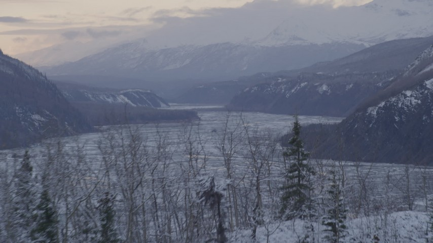 4K stock footage aerial video the Talkeetna Mountains beside the Matanuska River Valley in snow, Alaska Aerial Stock Footage | AK0001_1094