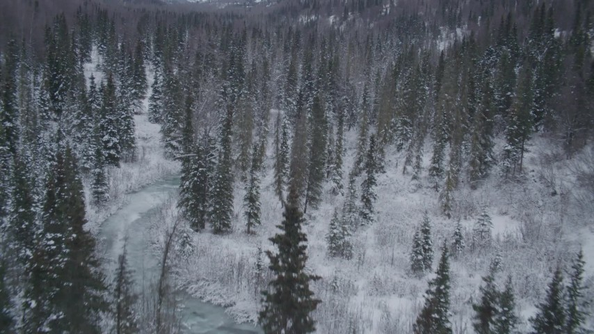 4K stock footage aerial video flying over snowy, wooded valley revealing river, Chugach Mountains, Alaska Aerial Stock Footage | AK0001_1193