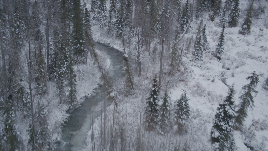 4K stock footage aerial video following a river cutting through snow covered forest, Chugach Mountains, Alaska Aerial Stock Footage   AK0001_1199