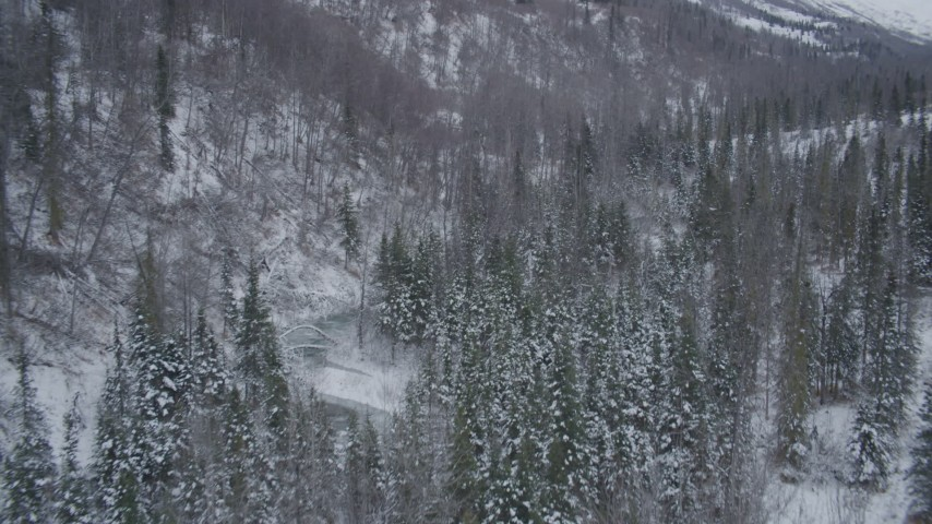4K stock footage aerial video flying low over river through snow covered forest, Chugach Mountains, Alaska Aerial Stock Footage | AK0001_1202
