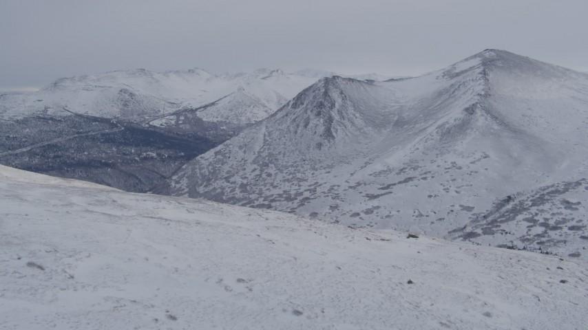 4K stock footage aerial video snow covered Chugach Mountains, Alaska Aerial Stock Footage   AK0001_1339