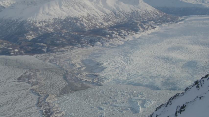 4K aerial video Knik River Valley, Knik Glacier, Chugach Mountains, Alaska in snow Aerial Stock Footage | AK0001_1380