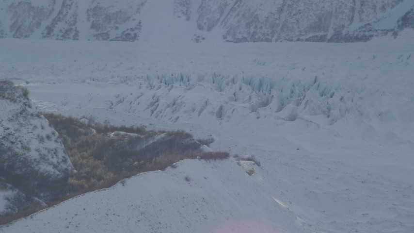 4K stock footage aerial video the snow covered Knik Glacier at base of Chugach Mountains, Alaska Aerial Stock Footage | AK0001_1392
