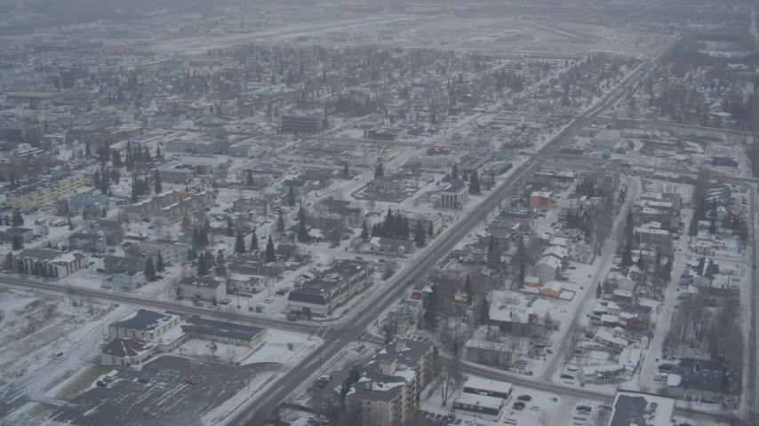 4K stock footage aerial video snow covered apartment buildings in winter, Anchorage, Alaska Aerial Stock Footage | AK0001_1528