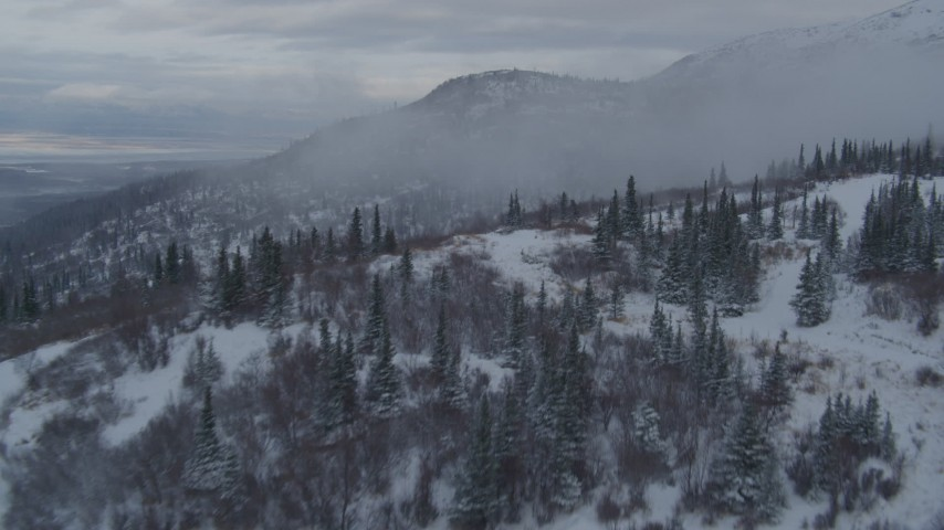 4K aerial video flying low over homes on snowy foothills, Eagle River, Alaska Aerial Stock Footage | AK0001_1537