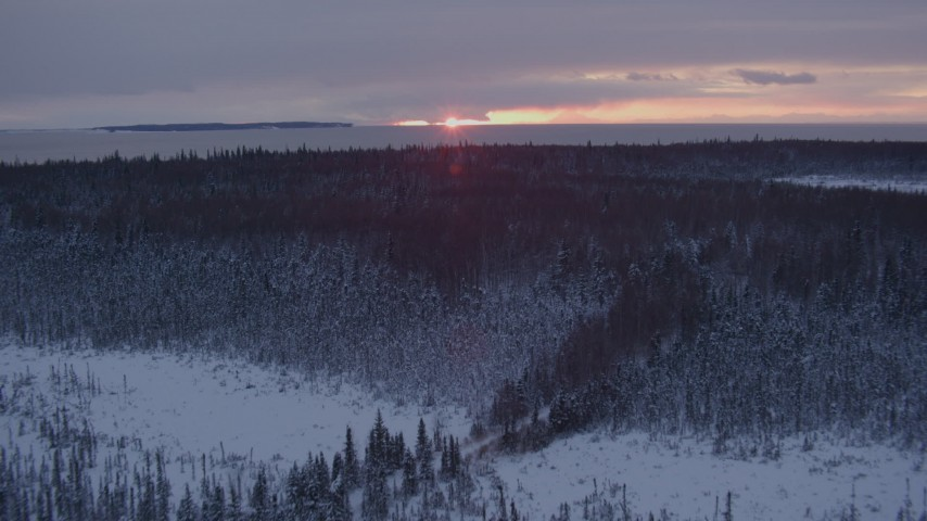 4K stock footage aerial video flying over snow covered forest on Point MacKenzie at sunset, Alaska Aerial Stock Footage | AK0001_1673