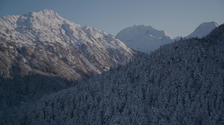 4K aerial  video rounding snowy, wooded peak, reveal double peak, Chugach Mountains, Alaska Aerial Stock Footage | AK0001_1761