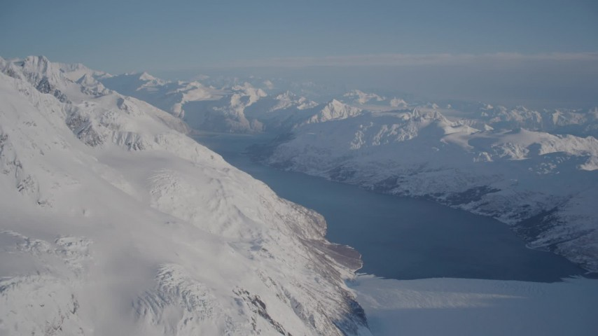 4K stock footage aerial video Harriman Fjord and Glacier surrounded by snowy Chugach Mountains, Alaska Aerial Stock Footage AK0001_1781