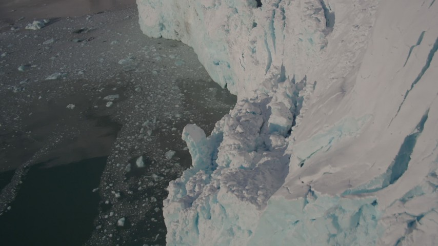 4K stock footage aerial video the edge of a snow covered glacier on the Harriman Fjord, Alaska Aerial Stock Footage | AK0001_1806