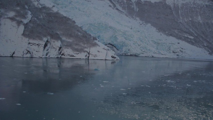 4K stock footage aerial video flying low over surface of Harriman Fjord toward snow covered glacier, Alaska Aerial Stock Footage | AK0001_1821