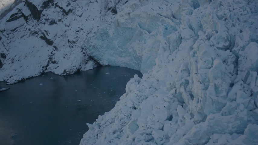 4K stock footage aerial video the edge of a snow covered glacier on Harriman Fjord, Alaska Aerial Stock Footage | AK0001_1823