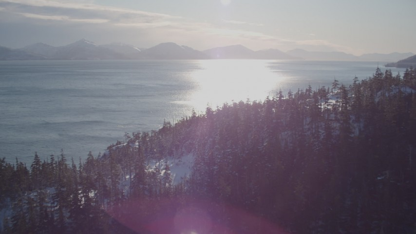 4K stock footage aerial video fly over snowy, wooded shore, sun reflecting off water, Port Wells, Alaska Aerial Stock Footage | AK0001_1837