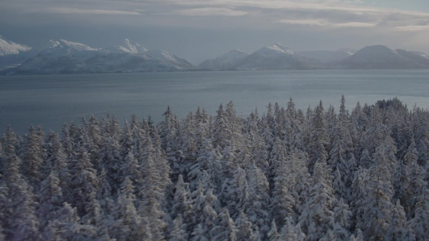 4K stock footage aerial video the snow covered Chugach Mountains across Port Wells, Alaska Aerial Stock Footage | AK0001_1843