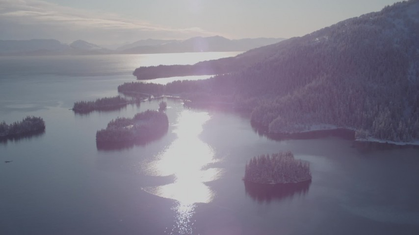 4K stock footage aerial video snow covered islands at mouth of Hummer Bay, Port Wells, Alaska Aerial Stock Footage | AK0001_1873