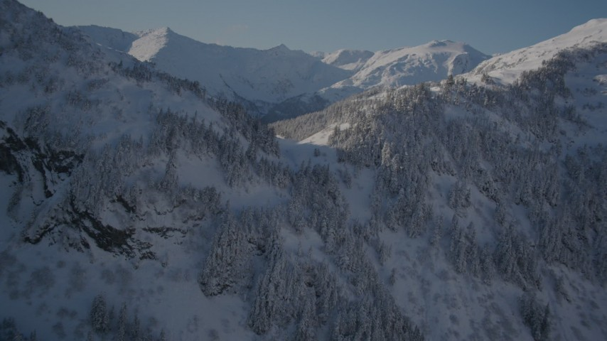 4K stock footage aerial video approaching snow covered forested summit in Chugach Mountains, Alaska Aerial Stock Footage | AK0001_1888
