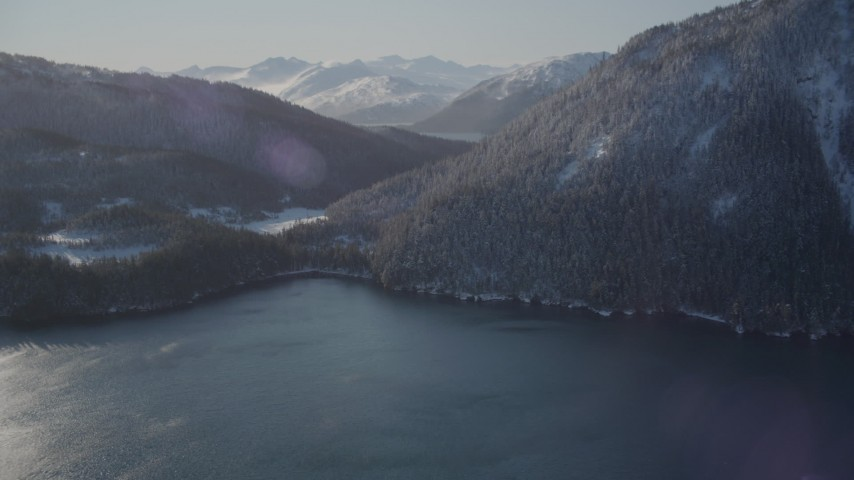 4K stock footage aerial video snowy mountains between Pigot Bay and Passage Canal, Alaska Aerial Stock Footage | AK0001_1897