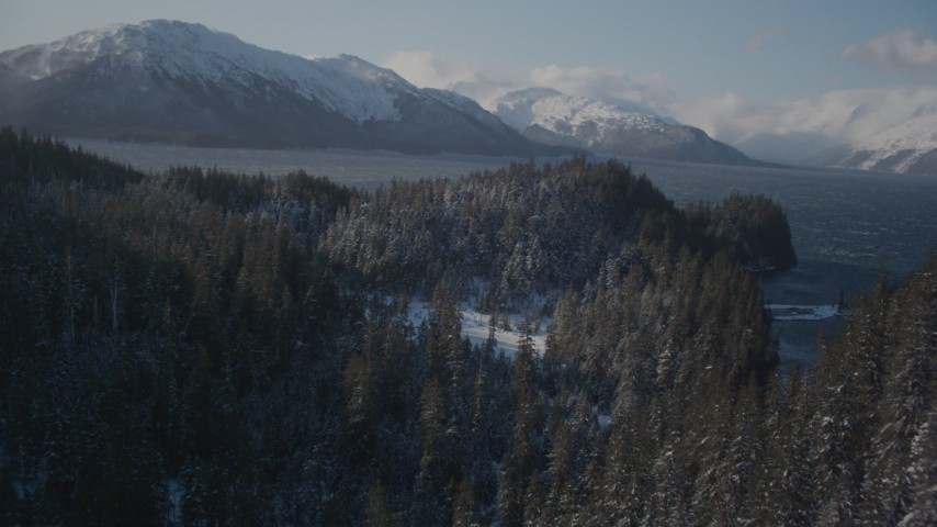 4K stock footage aerial video flying between snow covered wooded slopes, revealing Passage Canal, Alaska Aerial Stock Footage | AK0001_1900