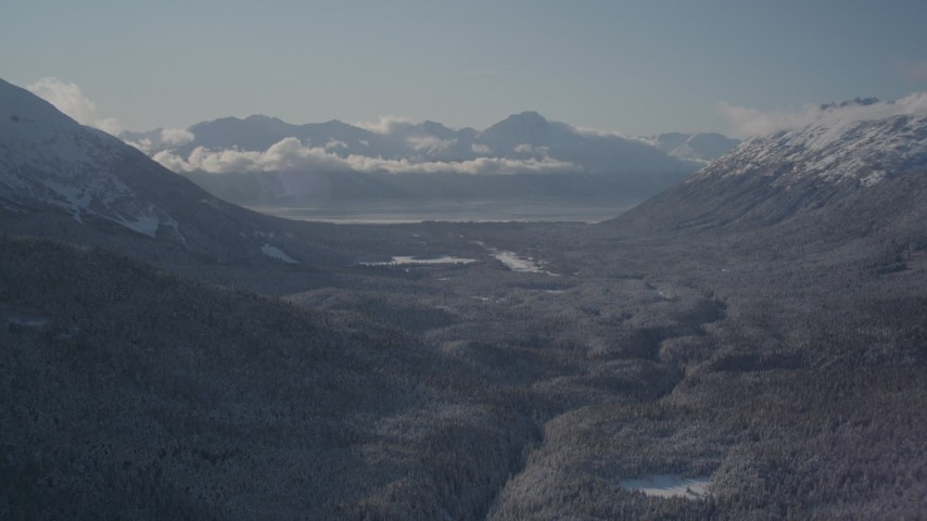 4K stock footage aerial video flying over a wooded valley between snowy Chugach Mountains, Girdwood, Alaska Aerial Stock Footage | AK0001_1956