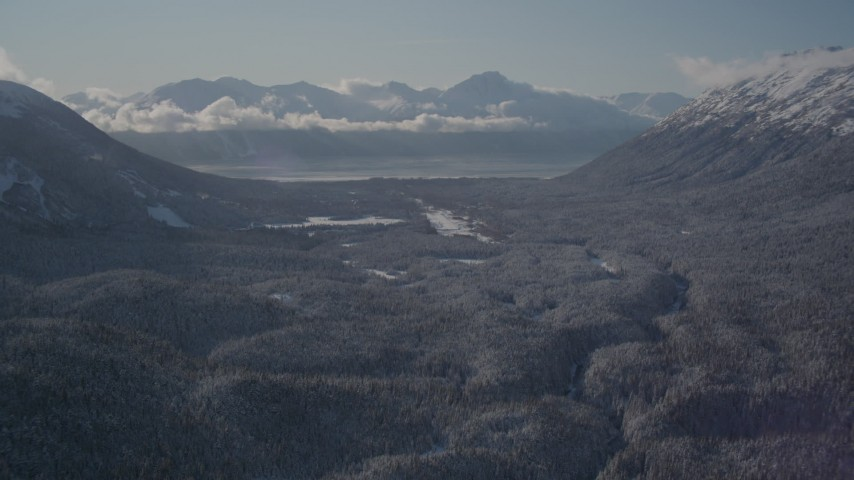 4K stock footage aerial video fly over wooded valley between snowy Chugach Mountains, Girdwood, Alaska Aerial Stock Footage | AK0001_1957