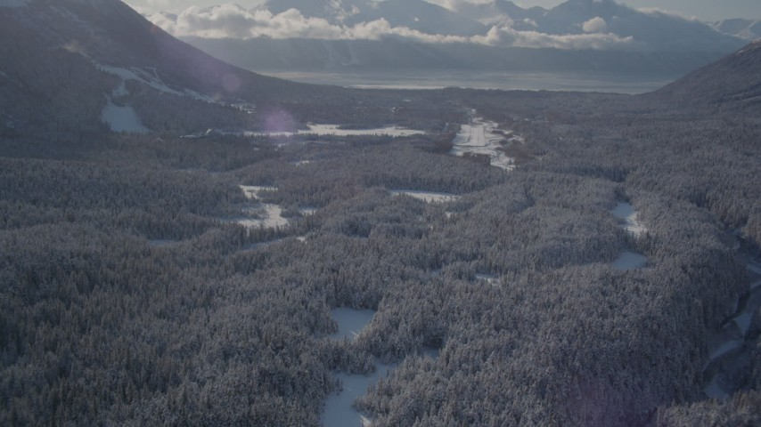4K stock footage aerial video tilt up revealing Girdwood Airport and snow covered Kenai Mountains, Alaska Aerial Stock Footage | AK0001_1958