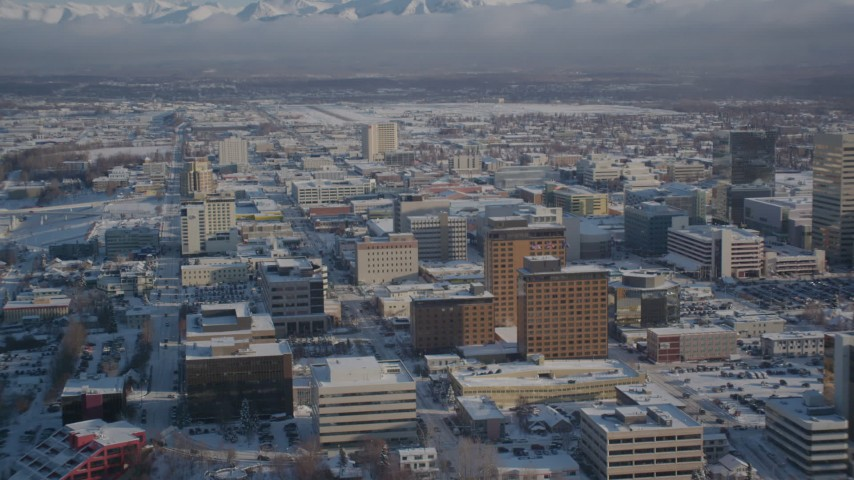 4K stock footage aerial video snow covered Downtown Anchorage, Alaska Aerial Stock Footage | AK0001_2022