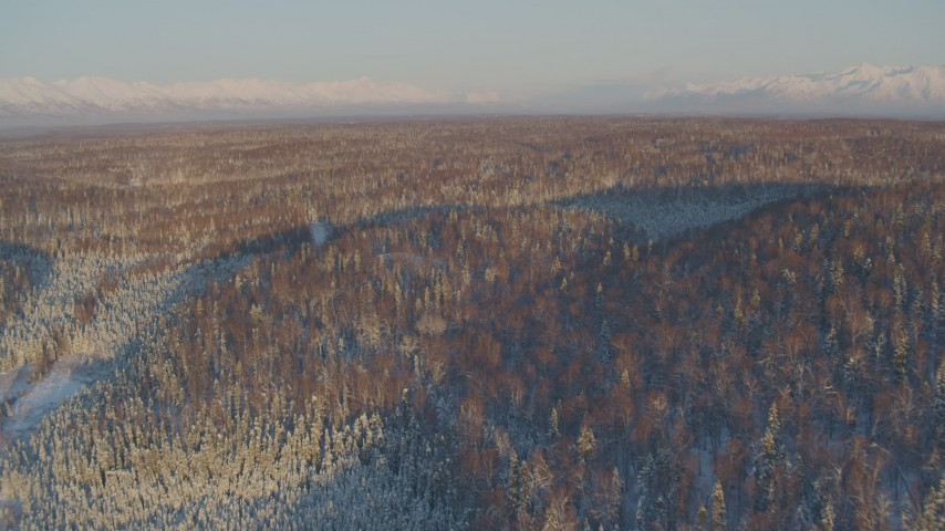 4K stock footage aerial video flying over houses surrounded by snowy forest in Knik-Fairview at sunset, Alaska Aerial Stock Footage | AK0001_2067
