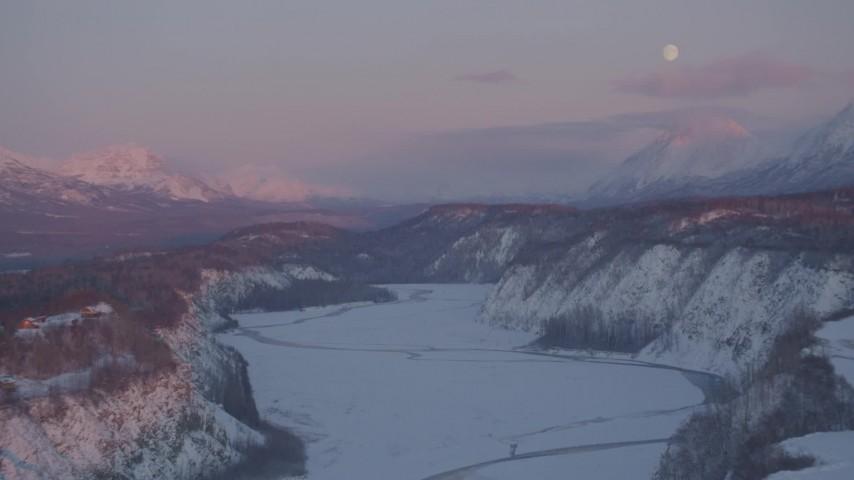 4K stock footage aerial video snowy Matanuska River Valley, Chugach Mountains, Anchorage, Alaska, twilight Aerial Stock Footage | AK0001_2100