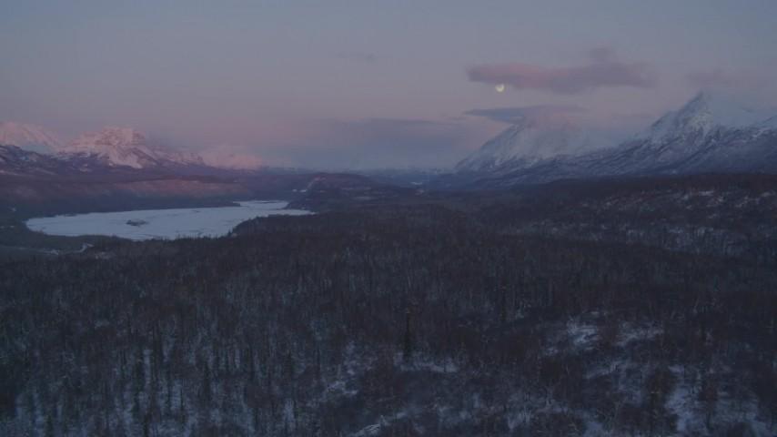 4K stock footage aerial video snowy Matanuska River Valley, Chugach Mountains, Alaska, twilight Aerial Stock Footage | AK0001_2106