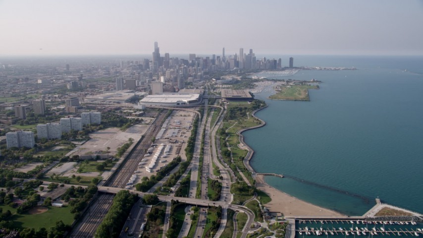 5K stock footage aerial video  following Highway 41 toward McCormick Place and Downtown Chicago, Illinois Aerial Stock Footage AX0001_017 | Axiom Images
