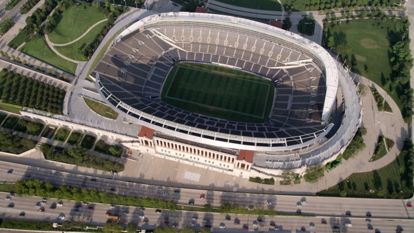 5K stock footage aerial video bird's eye view of Soldier Field, Chicago, Illinois Aerial Stock Footage | AX0001_022