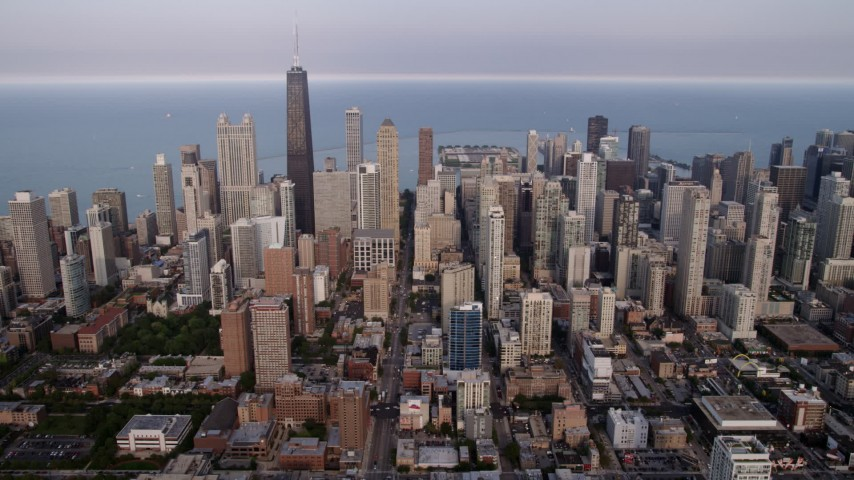 5K stock footage aerial video of Downtown Chicago skyscrapers on a cloudy day, Illinois Aerial Stock Footage | AX0001_056
