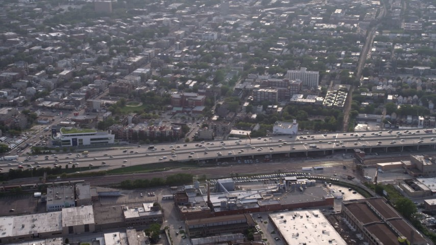 5K stock footage aerial video panning across Interstate 90 and 94, through West Chicago, Illinois Aerial Stock Footage | AX0001_059