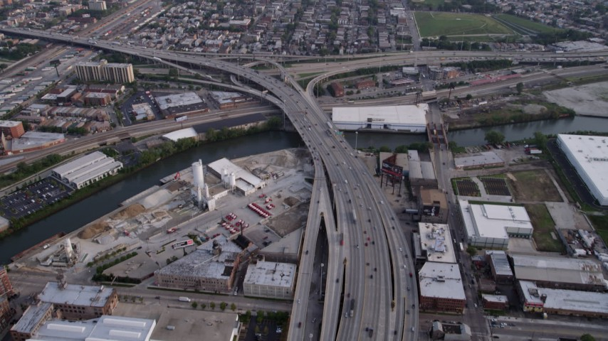 5K stock footage aerial video tilting from Interstate 90 and 94 near an interchange, West Chicago, Illinois Aerial Stock Footage AX0001_074