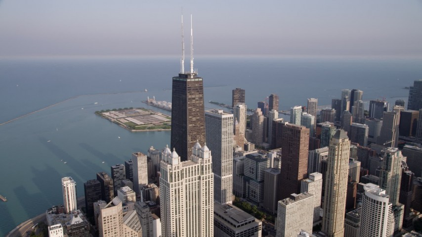 5K stock footage aerial video orbiting John Hancock Center, Downtown Chicago, Illinois Aerial Stock Footage | AX0001_087