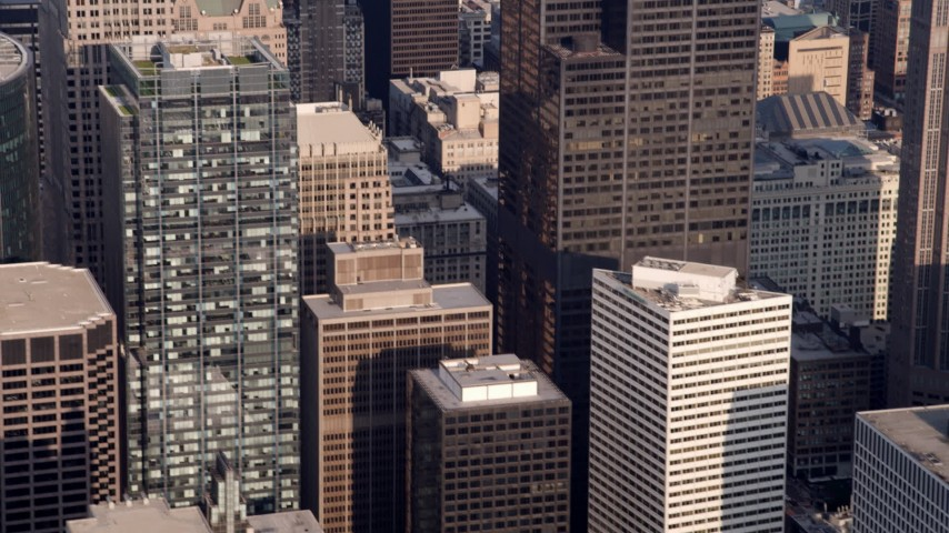5K stock footage aerial video tilting down side of Willis Tower, Downtown Chicago, Illinois Aerial Stock Footage | AX0001_110