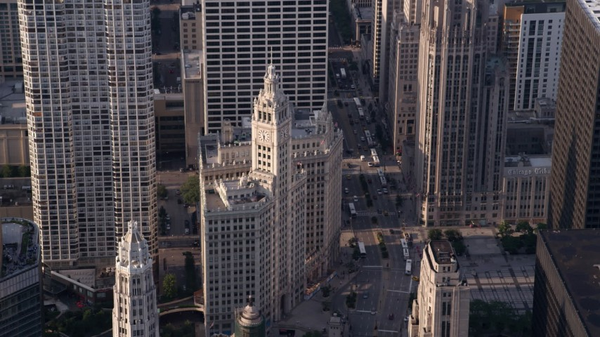 5K stock footage aerial video approaching the Wrigley Building in Downtown Chicago, Illinois Aerial Stock Footage | AX0001_117