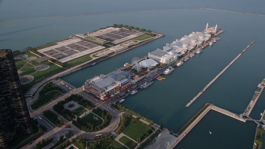 5K stock footage aerial video of The Navy Pier in Lake Michigan, Chicago, Illinois Aerial Stock Footage AX0001_121