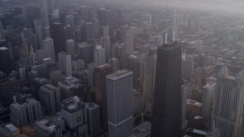 5K stock footage aerial video of Downtown skyscrapers and John Hancock Center, Downtown Chicago, Illinois Aerial Stock Footage | AX0001_132