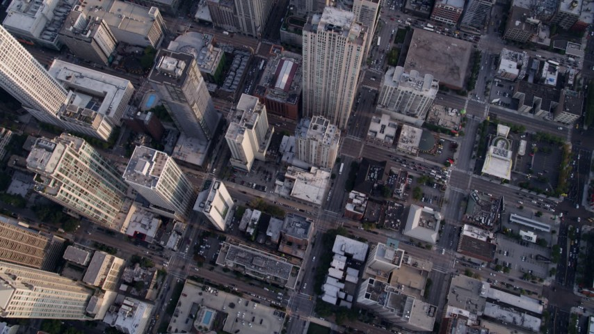5K stock footage aerial video of a bird's eye view of city streets and high-rises in Downtown Chicago, Illinois Aerial Stock Footage | AX0001_134
