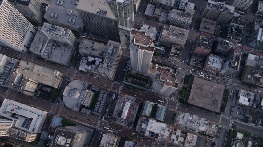 5K stock footage aerial video of bird's eye view over Downtown Chicago, Illinois Aerial Stock Footage | AX0001_135