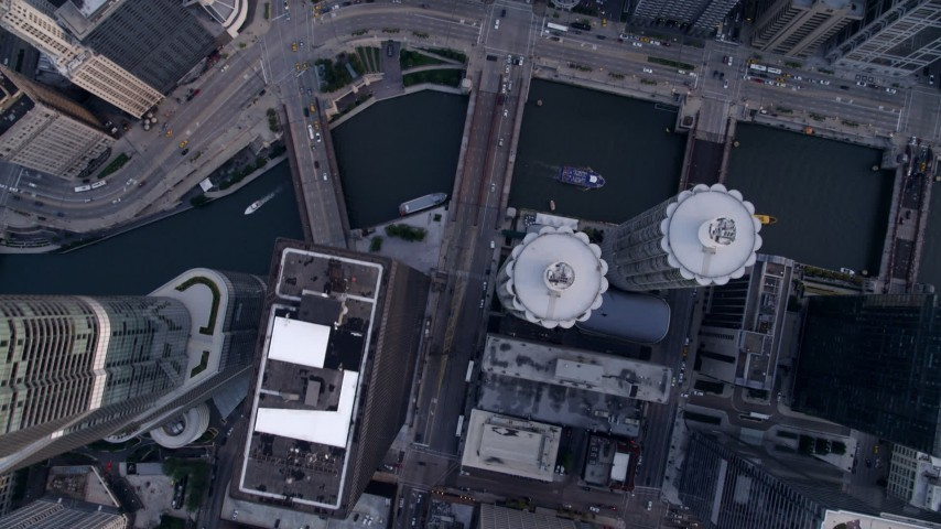 5K aerial video of bird's eye view of N State Street in Downtown Chicago, and the Chicago River, Illinois Aerial Stock Footage | AX0001_137
