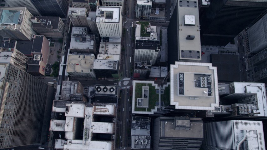 5K stock footage aerial video of Bird's eye view of S State Street in Downtown Chicago, Illinois Aerial Stock Footage | AX0001_140