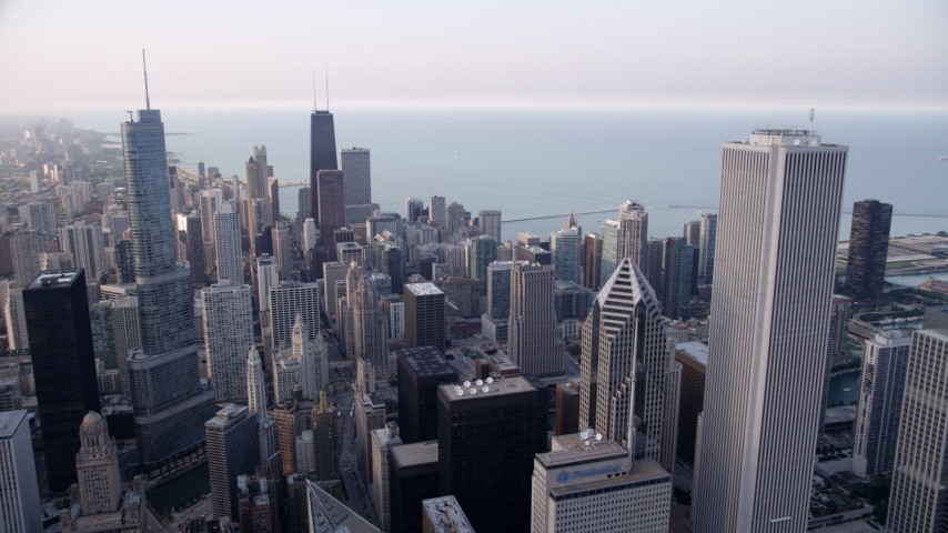 5K stock footage aerial video of Trump Tower Chicago, John Hancock Center, Two Prudential Plaza, and Aon Center in Downtown Chicago, Illinois Aerial Stock Footage | AX0001_148
