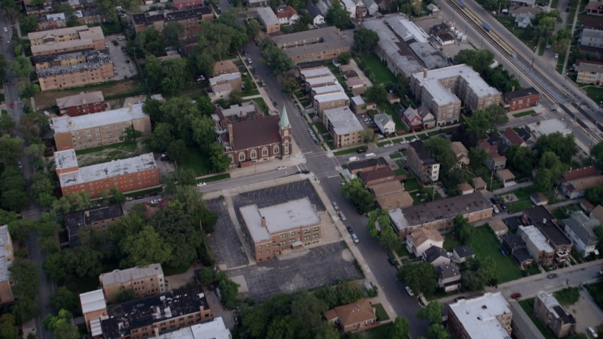 5K stock footage aerial video of bird's eye view of residential neighborhood and church, South Side Chicago, Illinois Aerial Stock Footage | AX0001_159