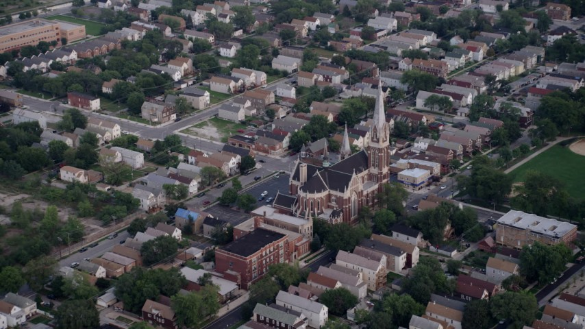 5K stock footage aerial video approaching St. Michael Catholic Church, Chicago, Illinois Aerial Stock Footage | AX0001_160