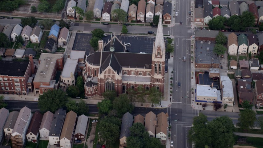 5K stock footage aerial video flying by St. Michael Catholic Church, Chicago, Illinois Aerial Stock Footage | AX0001_161