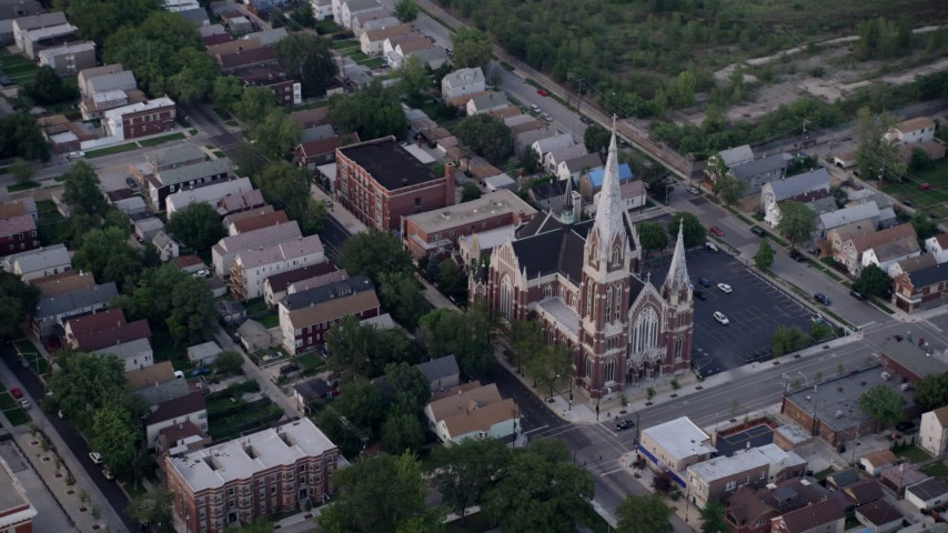 5K stock footage aerial video flying away from St. Michael Catholic Church, Chicago, Illinois Aerial Stock Footage | AX0001_162