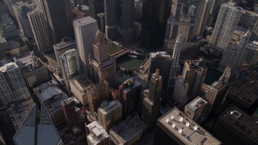5K stock footage aerial video bird's eye view of Downtown Chicago revealing Chicago River and Trump International Hotel and Tower, Illinois Aerial Stock Footage | AX0002_009