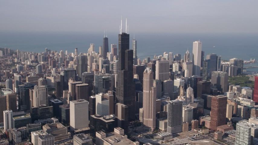 5K stock footage aerial video of Downtown Chicago cityscape and Willis Tower, Illinois Aerial Stock Footage | AX0002_064